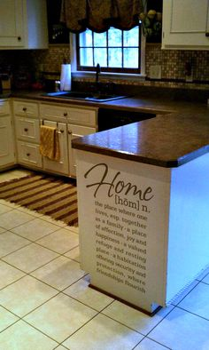 Similar layout that I'm looking for in my kitchen. I absolutely LOVE this idea of putting the definition of what a HOME is on the end of my kitchen counter. Kitchen Redo, New Kitchen, Kitchen Design, Kitchen Counters, Kitchen Ideas, Kitchen Cabinets, Awesome Kitchen, Refinish Cabinets, Island Kitchen