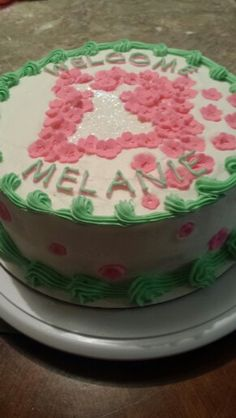 Pink and Green cake for baby girl