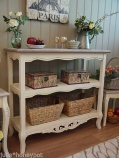 Shabby Chic French Farmhouse Style Console Sideboard Hall Side Table Cream | eBay