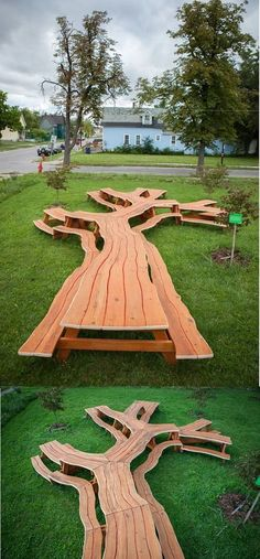 Artist Michael Beitz designed amazing sculptural table called Tree Picnic, a functional picnic table that branches like a tree at the Michigan Riley Farm in Buffalo, NY. Outdoor Projects, Wood Projects, Woodworking Projects, Outdoor Spaces, Outdoor Living, Outdoor Decor, Outdoor Ideas, Diy Picnic Table, Tree Table