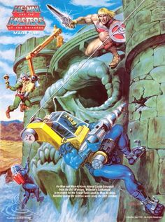 Poster from He-Man and the Masters of the Universe magazine 80s Cartoon Shows, 1980 Cartoons, Cult, Comic Movies, Comic Books, She Ra Princess Of Power, Sword And Sorcery, Fantasy Paintings, Universe Art