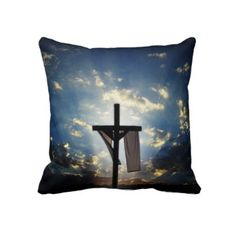 The ressurection of Christ image printed on a double sided pillow.
