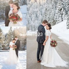 Wedding Dress Short Sleeve Modest Bridal Gown A Line Sweep Train Winter Spring | Clothing, Shoes & Accessories, Wedding & Formal Occasion, Wedding Dresses | eBay!