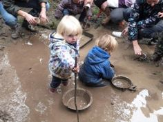 Playing and learning in icky sticky mud. :) Children learn to be confident explorers in nature that stems from children having the time and space to learn and the opportunities to demonstrate growing independancy