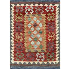 Herat Oriental Afghan Hand-woven Tribal Wool Kilim (2'1 x 2'8) (Afghan Hand-woven Tribal Kilim Area Rug), Red Burgundy, Size 2' x 3' (Natural Fiber, Geometric)