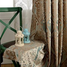 QANHU Hot Sale Chinese Style Blackout Curtain for Bedroom Polyester/Cotton Comfortable Curtains Set for the Living Room Luxury Curtains, Velvet Curtains, Drapes Curtains, Curtain Sets, Blackout Curtains, Chinese Style, Blue Gold, Living Room, Aud