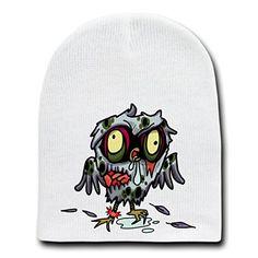 'Zombie Owl' Funny Animal Zombie Cartoon - White Beanie Skull Cap Hat