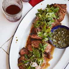 This bright and fresh chimichurri is used twice: as a sauce for the steak and as a dressing for the accompanying herb salad.