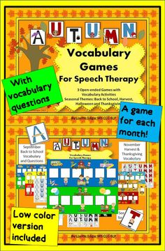 3 printable fall games- A fresh look for each month! Draw cards  spell the word…