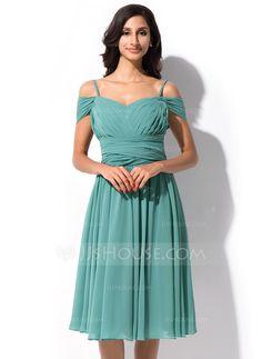 A-Line/Princess Off-the-Shoulder Knee-Length Chiffon Bridesmaid Dress With Ruffle (007055191)
