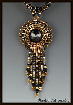 Midnight Jewel Bead Embroidered Beadwork door beadedartjewelry