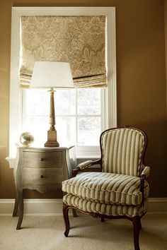 Golden brown and off-white room with soft Roman shade -- ML Interior Design