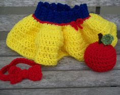 Crochet Snow White Skirt, Bow Headband, and Apple Set