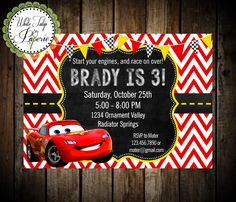 Cars Invitation, Cars Lightning McQueen Invitation, Cars Birthday Invitation, Cars Birthday Invite, Cars Digital Invitation, Printable by WhiteTulipPaperie on Etsy https://www.etsy.com/listing/198693333/cars-invitation-cars-lightning-mcqueen