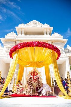 Looking for Outdoor pastel mandap decor? Browse of latest bridal photos, lehenga & jewelry designs, decor ideas, etc. Wedding Hall Decorations, Marriage Decoration, Wedding Entrance, Engagement Decorations, Decor Wedding, Trendy Wedding, Elegant Wedding, Wedding Ideas, Wedding Set