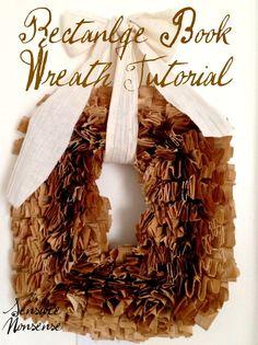Tutorial on making a rectangular book wreath....