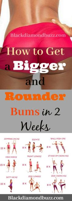 How to Get a Bigger and Rounder Bums in 2 Weeks with exercise at home. How to Get a Bigger and Rounder Bums in 2 Weeks with exercise at home. Fitness Tips, Health Fitness, Bum Workout, Yoga Tips, Alternative Medicine, Get In Shape, Stay Fit, Glutes, At Home Workouts