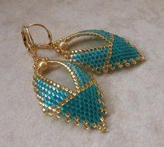 Russian Leaf Earrings  Two Tone Teal by pattimacs on Etsy, $20.00