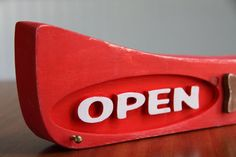 Open and Closed Canoe carved wooden Sign by PiccadillySignsDecor.
