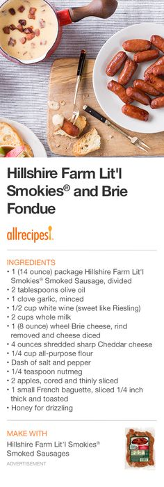 "Hillshire Farm Lit'l Smokies® and Brie Fondue | ""This easy party dip is creamy, smoky and perfect for a crowd of foodies ready to snack."""