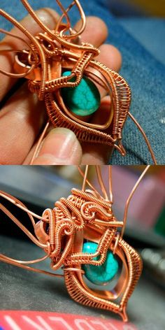 Copper Wire Jewelry, Wire Jewelry Designs, Jewelry Patterns, Copper Art, Wire Wrapped Necklace, Wire Wrapped Pendant, Wire Crafts, Jewelry Crafts, Copper Electrical Wire