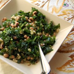 Mark Bittman's main-dish Kale Salad with Blackeyed Peas and Barley -- really simple. You massage the kale with olive oil to make it tender, then just toss in the other ingredients and serve.