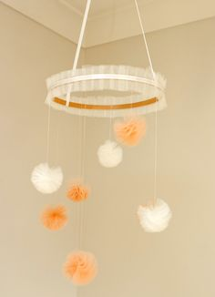 Baby Mobile  Peach and Ivory Tulle Pom Poms by MaxandMeHomewares, $70.00