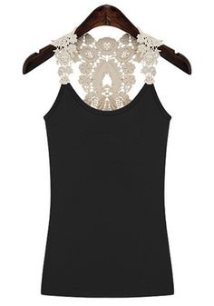 Love Love Love! Black Patchwork Sleeveless Lace Cotton Tank Top! #White_Lace #Black #Tank_Top #Fashion