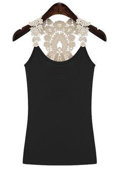 Love Love Love! Black Patchwork Sleeveless Lace Cotton Tank Top! #White_Lace #Black #Tank_Top #Fashion