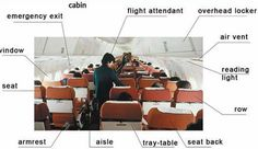 Learning the parts for inside an airplane. Vocabulary with pictoral support, good for newcomers and low English proficiency ELLs.