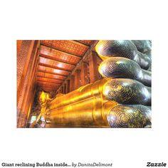 Giant reclining Buddha inside temple, Wat Pho,