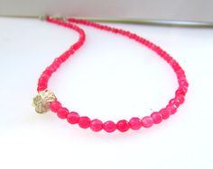 Pomegranate Pink Necklace Jade Beaded Necklace by EfZinCreations, $35.00