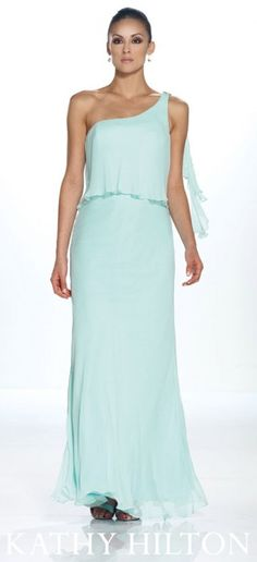 H21053  One shoulder silk chiffon popover gown