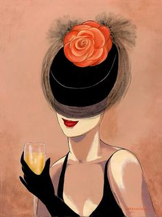 Lorraine Dell Wood ~ Flirty Hat ~Via Nelly Osti Lorraine, Creation Art, Grafik Design, Abstract Oil, Abstract Landscape, Mail Art, Fabric Painting, Pop Art, Art Drawings