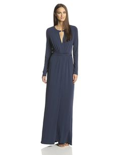 Long Sleeve Jersey Evening Gown with Slit Front by Halston Heritage