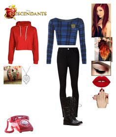 """""""Polly Guy-Daughter of Phone Guy"""" by maxinehearts ❤ liked on Polyvore featuring AG Adriano Goldschmied, WearAll, Static Nails, Nicole Fendel, OC, Descendants and fnaf"""