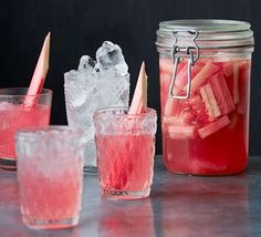 Use seasonal rhubarb to make a G&T with a difference, or top with soda water for a refreshing summertime drink in glorious pink