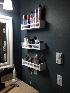 10 Ways to Squeeze a Little Extra Storage Out of a Small Bathroom. Hang spice racks (like the IKEA BEKVAM shown here) on the wall to organize makeup. 28 Bathroom Storage Ideas to Getting Clutter Away Small Bathroom Storage, Bathroom Organization, Organization Ideas, Small Bathrooms, Bathroom Ideas, Bathroom Hacks, Organized Bathroom, Bathroom Shelves, Bathroom Renovations