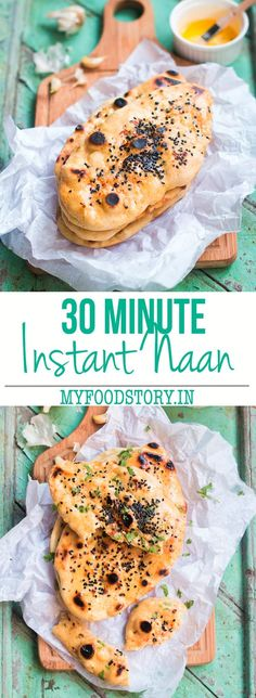 Instant Naan bread recipe which takes only 30 minutes from start to finish and can be made on a skillet. No yeast, no eggs, no oven or tandoor. Goes so well with indian curries, stews or as naan pizza! Freezer friendly too.