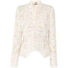 Alexander McQueen Crochet-embroidered silk-organza jacket ❤ liked on Polyvore