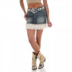 Wrangler Womens Low Rise Lace and Denim Skirt