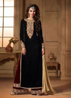 Salwar Kameez Impeccable Resham travaillé Noir design - Avena sari