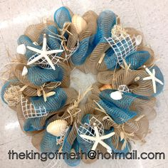 Let's get ready for #Summer #Season, create your own mesh wreath or order yours at: thekingofmesh@hotmail .com - Introducing my newest #meshwreath from latest Summer collection. I got all my supplies at @MichaelsStores #craftssupplies #decomesh #custom #mesh #michaelsstores @thekingofmesh #homedecor #polydecomesh #seashells #burlap #seatheme #sea #starfish #flowers #shells #blue #white