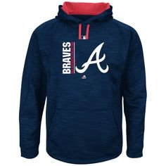 Atlanta Braves Majestic Authentic Collection Team Icon Streak Fleece Pullover Hoodie - Navy/Red - $79.99
