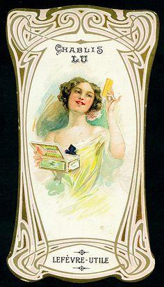 "lefevre-utile, c1900, die-cut chromo card advertising ""chablis"" biscuits"