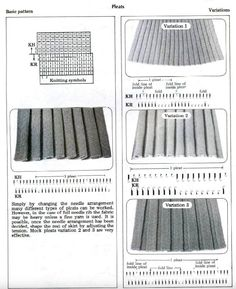my diagrams for designing ribbed, pleated fabrics in blog post. Above pic via Brother Ribber Techniques Book