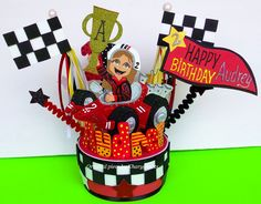 RACING CARS Birthday cake topper HAPPY BIRTHDAY AUDREY!!!! #RACINGCARS #racingparty #caketopper #birthdayparty for more information and details about this item please visit my ARTFIRE shop at the link attached!!! http://www.artfire.com/ext/shop/product_view/kharygoarts/4623349/RACING_CARS_FOR_GIRLS_BIRTHDAY_CAKE_TOPPER/Childrens/Toddlers/Other