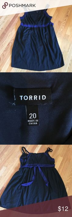 Torrid- Black dress with royal blue belt-20 Cute dress that can be worn throughout the year with a cute jacket/cardigan- zipper in side for better fit- 2 straps on top with small v neck- 25 inches armpit to armpit- 42 inches length- shell and lining 100/poly- from smoke free home torrid Dresses Midi