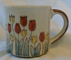 Otagiri Vintage Stoneware Hand Painted Coffee Mug Tulips Flowers Japan | eBay