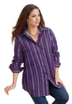 dca5575158674 Roamans Plus Size Kate Solid and Ombre Stripe Bigshirt